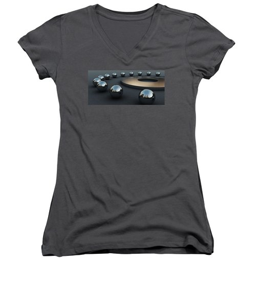 Women's V-Neck T-Shirt (Junior Cut) featuring the digital art Around Circles by Richard Rizzo
