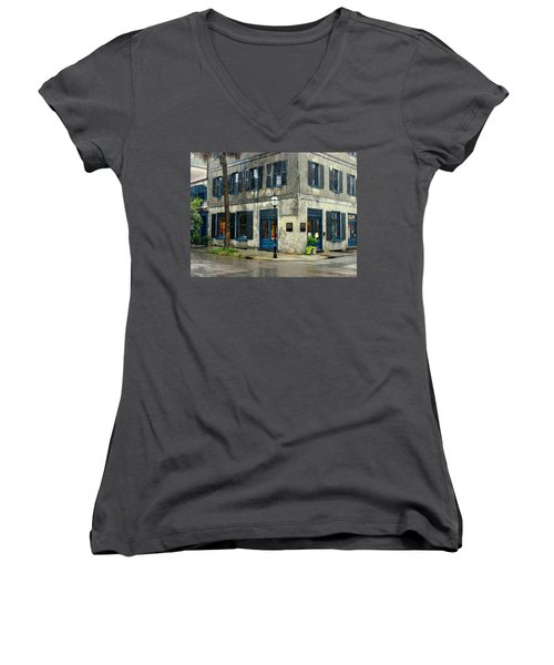 Women's V-Neck T-Shirt (Junior Cut) featuring the photograph Art Gallery In The Rain by Rodney Lee Williams