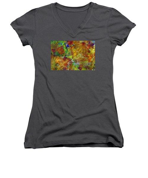 Art Glass Overlay Women's V-Neck