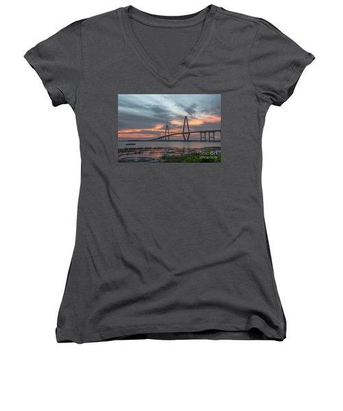 Women's V-Neck T-Shirt (Junior Cut) featuring the photograph Orange Nebulous by Dale Powell