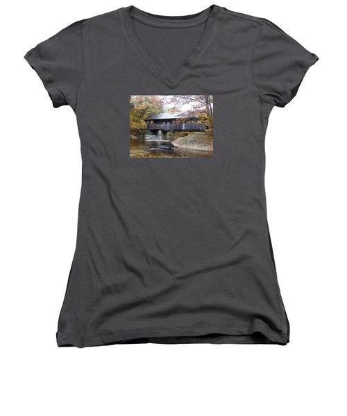 Artist Covered Bridge Women's V-Neck T-Shirt (Junior Cut) by Catherine Gagne