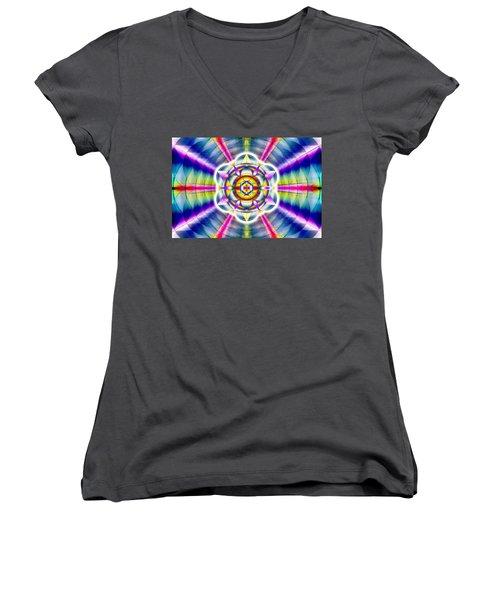 Women's V-Neck T-Shirt (Junior Cut) featuring the drawing Ascending Eye Of Spirit by Derek Gedney
