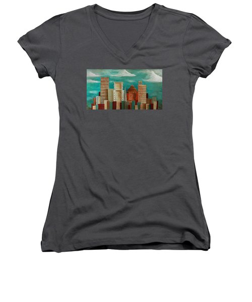 Asheville Skyline Women's V-Neck (Athletic Fit)
