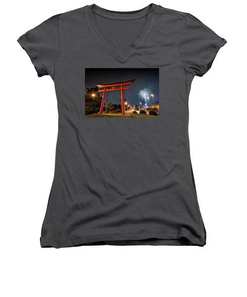 Asian Fireworks Women's V-Neck T-Shirt (Junior Cut) by John Swartz