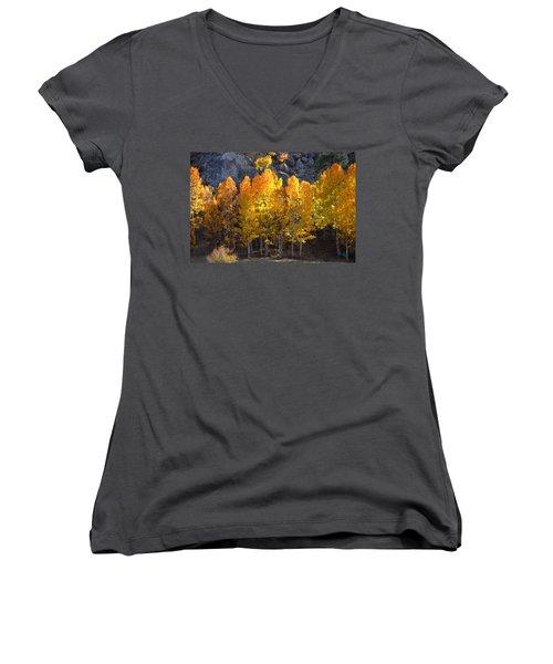 Women's V-Neck T-Shirt (Junior Cut) featuring the photograph Aspen Gold by Lynn Bauer