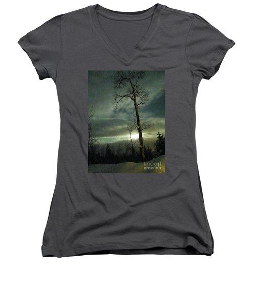 Aspen In Moonlight Women's V-Neck T-Shirt (Junior Cut) by Brian Boyle