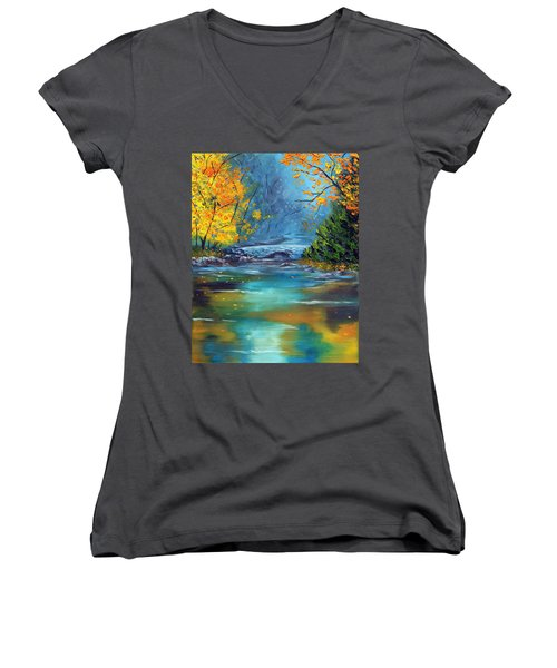 Women's V-Neck T-Shirt (Junior Cut) featuring the painting Assurance by Meaghan Troup