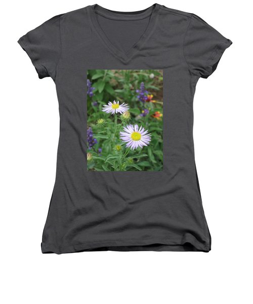 Asters In Close-up Women's V-Neck (Athletic Fit)