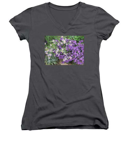 Asters Light And Dark Women's V-Neck (Athletic Fit)