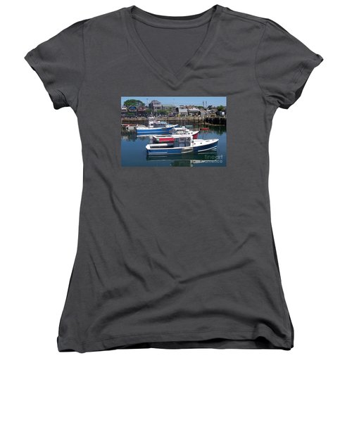 Colorful Boats Women's V-Neck T-Shirt (Junior Cut) by Eunice Miller