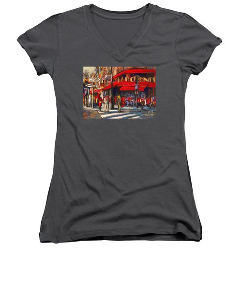 At The Cafe De La Rotonde Paris Women's V-Neck (Athletic Fit)