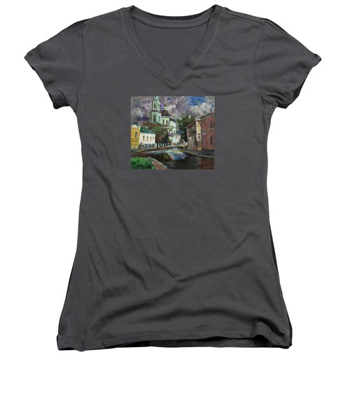 At The Church Sergius In Moscow Women's V-Neck T-Shirt