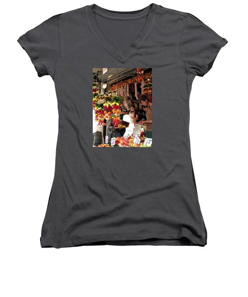 Women's V-Neck T-Shirt (Junior Cut) featuring the photograph At The Market by Chris Anderson