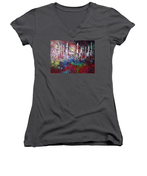At The Top Women's V-Neck T-Shirt (Junior Cut) by George Riney