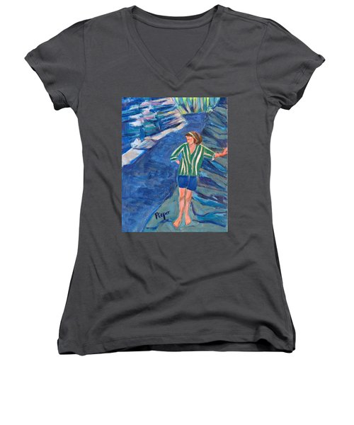 Women's V-Neck T-Shirt (Junior Cut) featuring the painting At Wintergreen Park Canajoharie 1957 by Betty Pieper