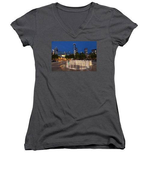 Atlanta By Night Women's V-Neck T-Shirt