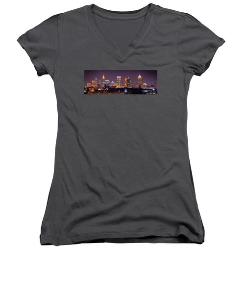 Atlanta Skyline At Night Downtown Midtown Color Panorama Women's V-Neck T-Shirt