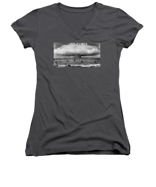 Atomic Bomb Test Women's V-Neck T-Shirt (Junior Cut) by Mountain Dreams