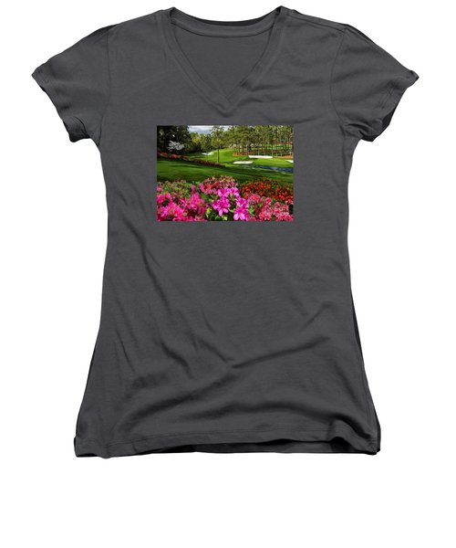 Augusta Azaleas 16th And 6th Women's V-Neck T-Shirt (Junior Cut) by Tim Gilliland