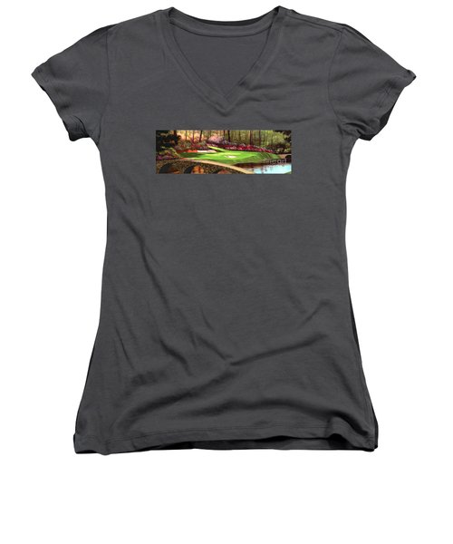 Augustas 12 Hole 28x9 Women's V-Neck T-Shirt (Junior Cut) by Tim Gilliland
