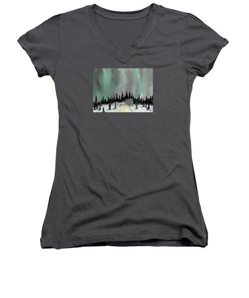 Aurora Magic - Dance Of The Lights Women's V-Neck T-Shirt (Junior Cut) by R Kyllo