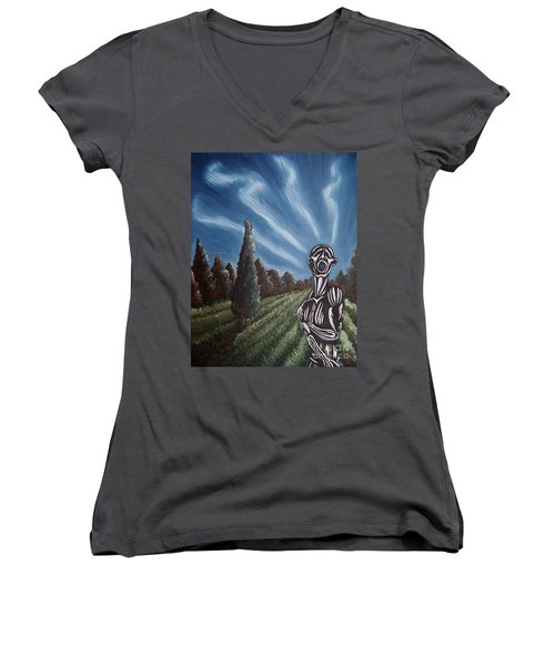 Women's V-Neck T-Shirt (Junior Cut) featuring the painting Aurora by Michael  TMAD Finney