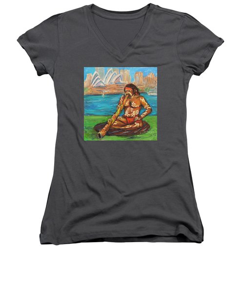 Women's V-Neck T-Shirt (Junior Cut) featuring the painting Aussie Dream I by Xueling Zou