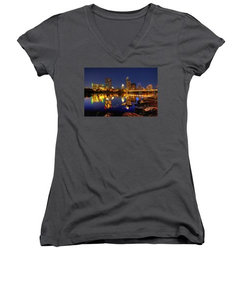 Austin On The Rocks Women's V-Neck T-Shirt (Junior Cut) by Dave Files