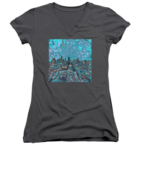 Austin Texas Vintage Panorama 4 Women's V-Neck T-Shirt (Junior Cut) by Bekim Art