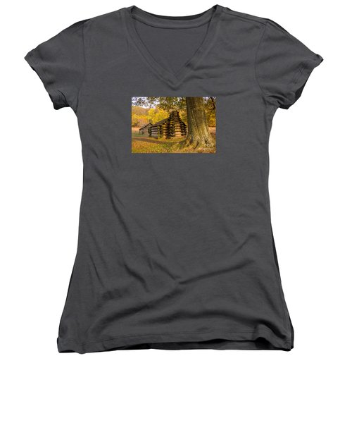 Women's V-Neck T-Shirt (Junior Cut) featuring the photograph Autumn And The Huts At Valley Forge by Rima Biswas