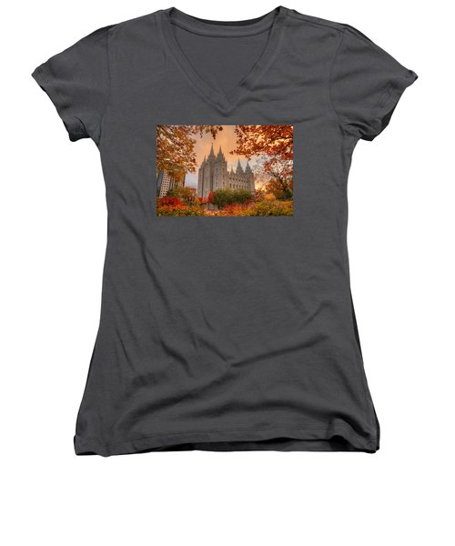 Autumn At Temple Square Women's V-Neck T-Shirt (Junior Cut) by Dustin  LeFevre