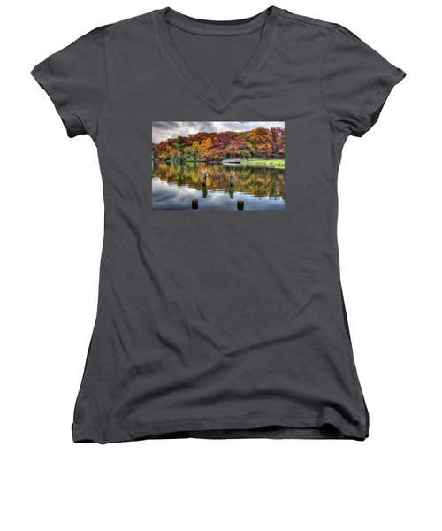 Autumn At The Pond Women's V-Neck T-Shirt