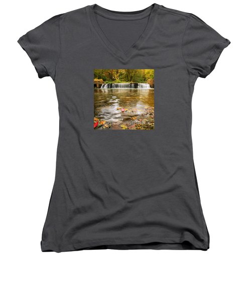 Women's V-Neck T-Shirt (Junior Cut) featuring the photograph Autumn At Valley Creek by Rima Biswas