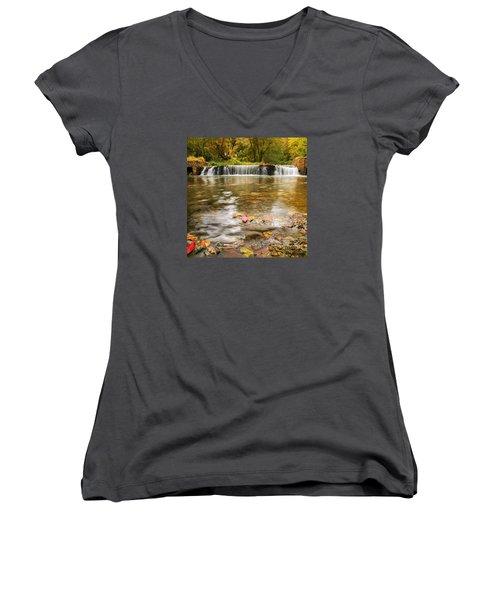 Autumn At Valley Creek Women's V-Neck T-Shirt (Junior Cut) by Rima Biswas