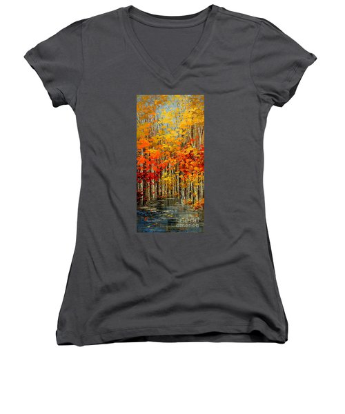 Women's V-Neck T-Shirt (Junior Cut) featuring the painting Autumn Banners by Tatiana Iliina