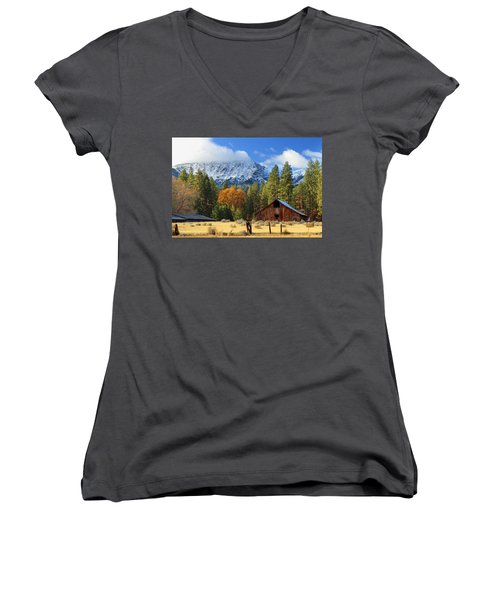 Autumn Barn At Thompson Peak Women's V-Neck T-Shirt (Junior Cut) by James Eddy