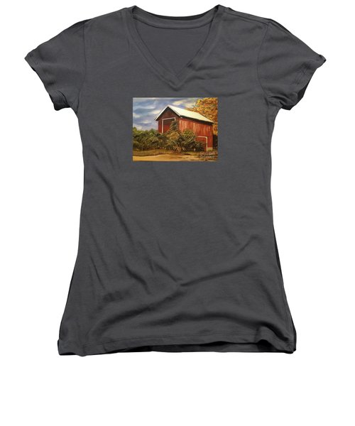 Women's V-Neck T-Shirt (Junior Cut) featuring the painting Autumn - Barn - Ohio by Jan Dappen