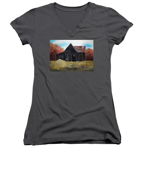 Women's V-Neck T-Shirt (Junior Cut) featuring the painting Autumn - Barn -orange by Jan Dappen
