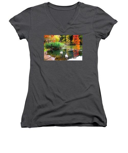 Autumn By The Swan Lake Women's V-Neck T-Shirt (Junior Cut) by Dora Sofia Caputo Photographic Art and Design