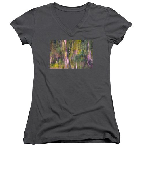 Women's V-Neck T-Shirt (Junior Cut) featuring the photograph Autumn Carpet by Yulia Kazansky