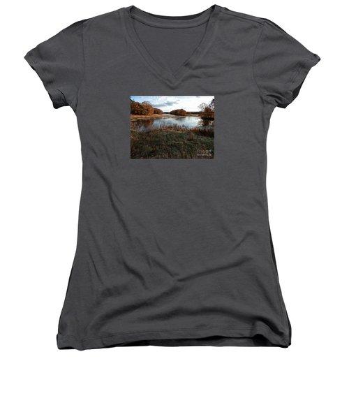Autumn Colors Women's V-Neck T-Shirt (Junior Cut) by Marcia Lee Jones