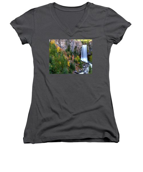 Women's V-Neck T-Shirt (Junior Cut) featuring the photograph Autumn Colors Surround Tumalo Falls by Kevin Desrosiers