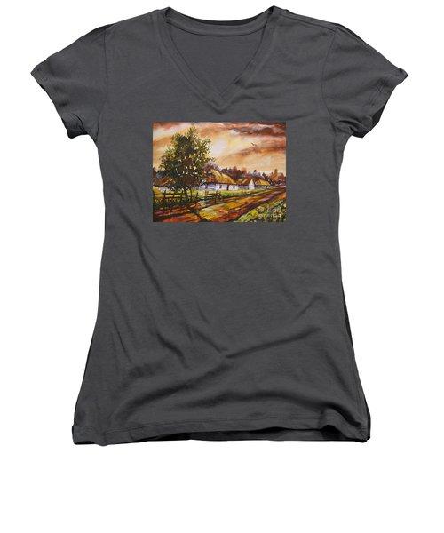 Autumn Cottages Women's V-Neck T-Shirt