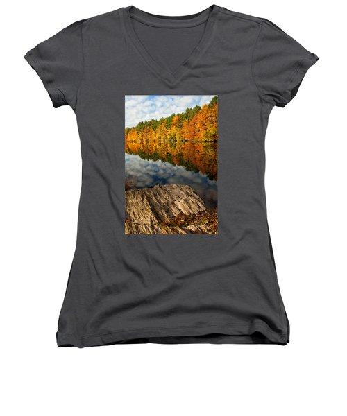 Autumn Day Women's V-Neck T-Shirt (Junior Cut) by Karol Livote