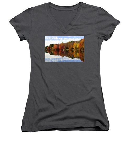 Autumn Explosion Women's V-Neck T-Shirt