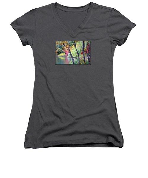 Autumn Fantasy Women's V-Neck T-Shirt (Junior Cut) by Dora Sofia Caputo Photographic Art and Design