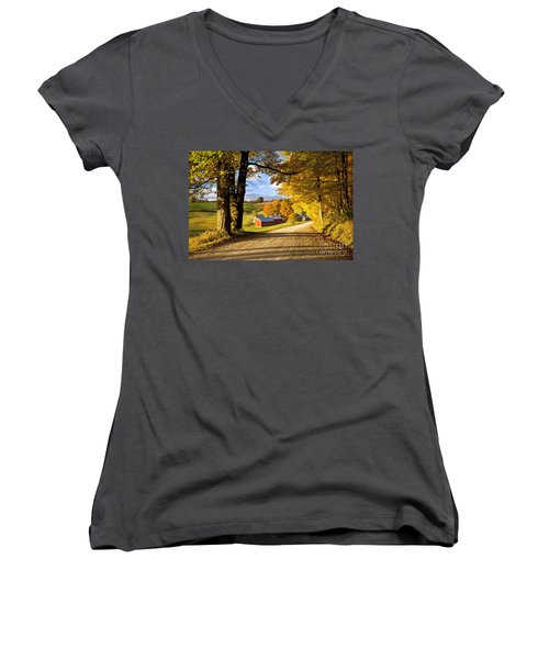 Autumn Farm In Vermont Women's V-Neck (Athletic Fit)