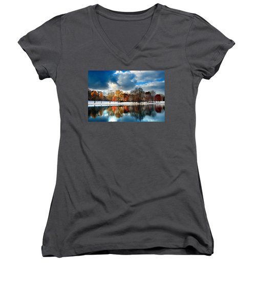 Autumn Finale Women's V-Neck T-Shirt (Junior Cut) by Rob Blair