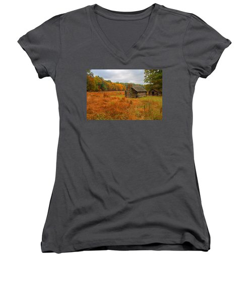 Autumn Foliage In Valley Forge Women's V-Neck T-Shirt (Junior Cut) by Michael Porchik