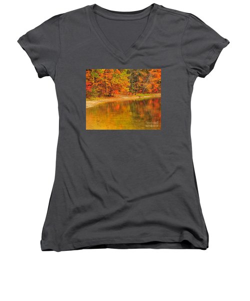 Autumn Forest Reflection Women's V-Neck T-Shirt (Junior Cut) by Terri Gostola